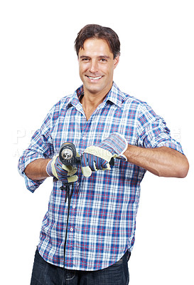 Buy stock photo Portrait of happy craftsman holding a drill machine in hand isolated on white background