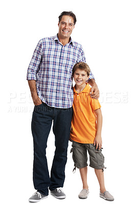 Buy stock photo Portrait of a caring father standing with his cute son isolated on white background