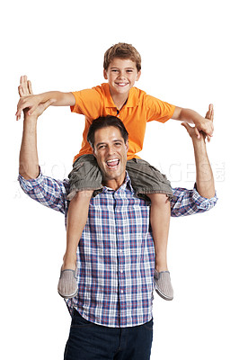 Buy stock photo Portrait of excited man carrying his son on shoulder against white background
