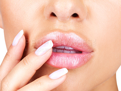 Buy stock photo Cropped image of beautiful girl's manicure and lips makeup - Closeup