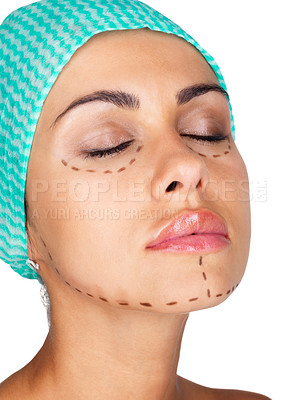 Buy stock photo Lines on an attractive Caucasian lady face as marks for cosmetic plastic surgery