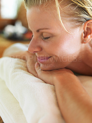 Buy stock photo Closeup of happy middle aged woman relaxing at spa