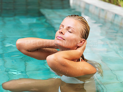 Buy stock photo Closeup of attractive woman in health spa pool