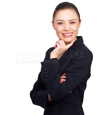 Buy stock photo Smiling beauty - business woman feeling great - Portrait of a beautiful young business woman, happy and smiling and on isolated background.