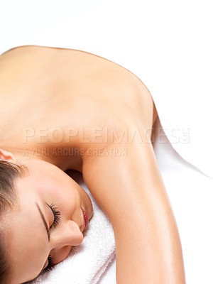 Buy stock photo Beautiful woman resting, waiting for massage at the spa. Or maybe in bed at home?