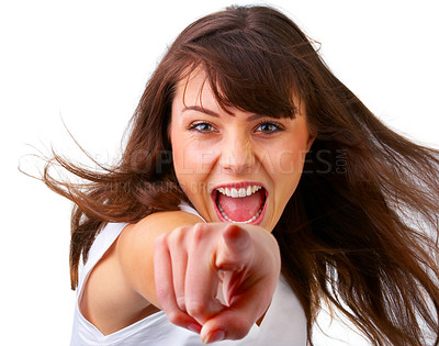 Buy stock photo Young female pointing at you - Portrait of an attractive young woman pointing her finger. Isolated on white background