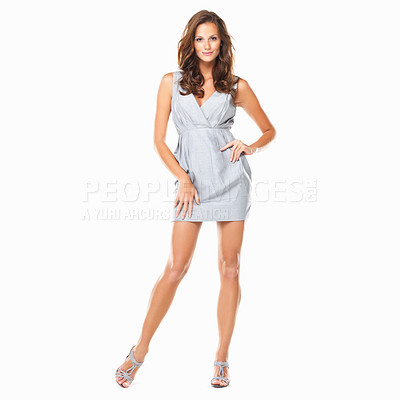 Buy stock photo Full length of attractive young woman posing on white background
