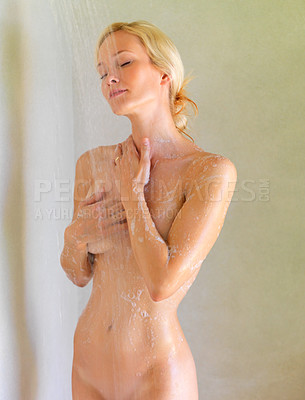 Buy stock photo Beautiful young woman relaxing under the shower