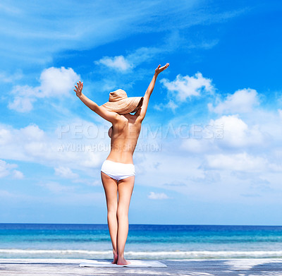Buy stock photo Rear view of sexy young woman enjoying the sun by the sea shore