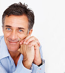 Charming mature business man over white background