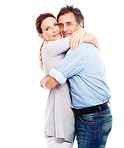 Portrait of charming couple hugging eachother over white background