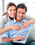 Cute senior couple working on the computer at home