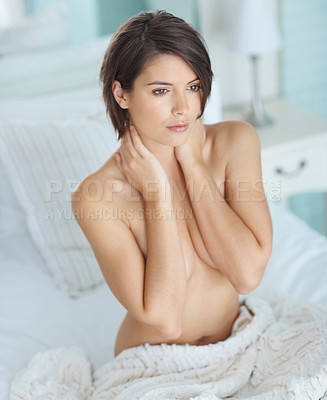 Buy stock photo Thoughtful young sexy female model sitting naked in bed