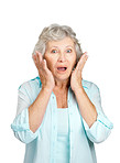 Surprised senior woman with hand on her cheeks