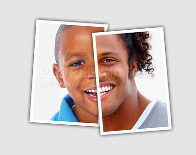 Buy stock photo Comparison of a young african boy and an older african man - Conceptual