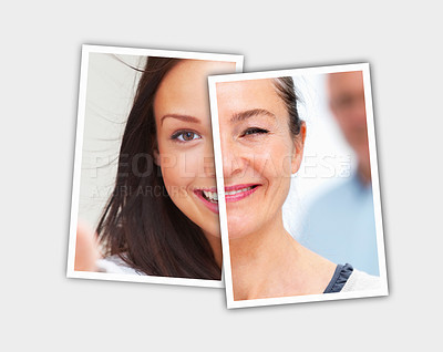 Buy stock photo Montage - Comparison pictures of young and middle aged face of caucasian woman - Conceptual