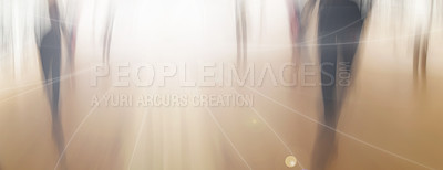 Buy stock photo Motion blur image - People on the move on street