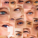 Punctuation sign over a collage of human eyes