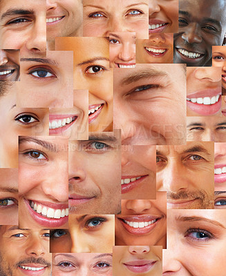 Buy stock photo Collage of parts of many happy human face together - Creative background