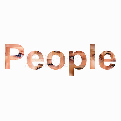 Buy stock photo Word people formed by several people eyes as background