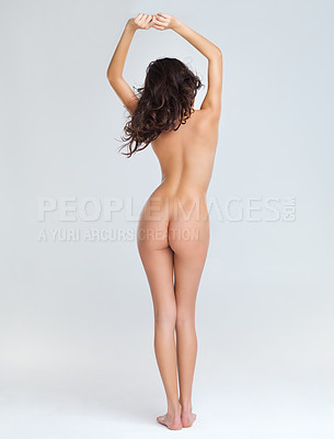 Buy stock photo Rear view of woman posing with perfect curves