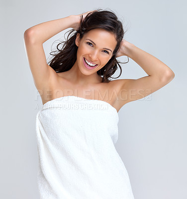 Buy stock photo Portrait of lovely young woman smiling in towel