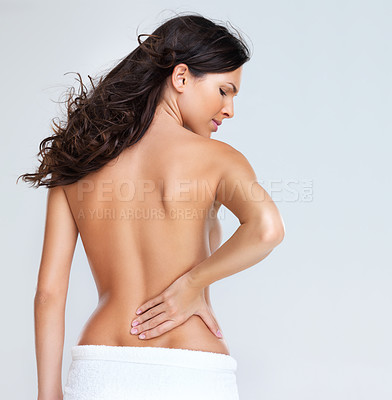 Buy stock photo Portrait of young woman with severe back ache