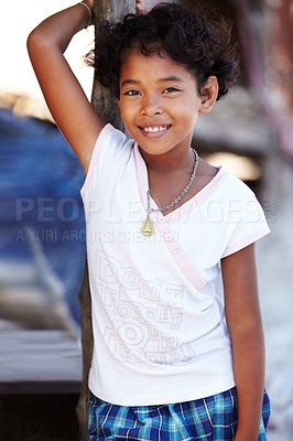 Buy stock photo Portrait of a young and shy girl from Thailand smiling