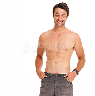 Buy stock photo Confident young man standing shirtless isolated on white - copyspace
