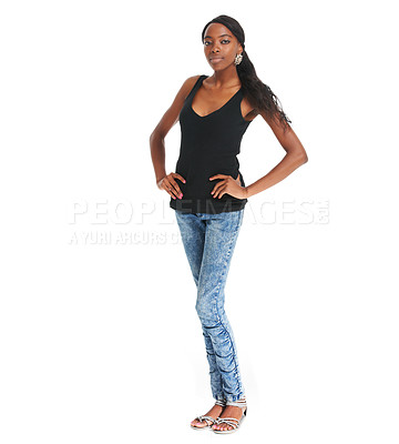 Buy stock photo Pretty African woman posing confidently against a white background - copyspace
