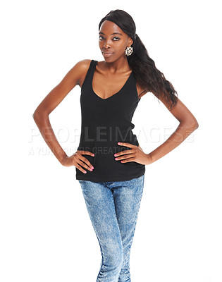 Buy stock photo Confident young African woman with her hands on her hips while isolated on white