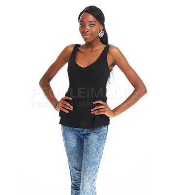 Buy stock photo Beautiful young African woman posing with her hands on her hips - copyspace