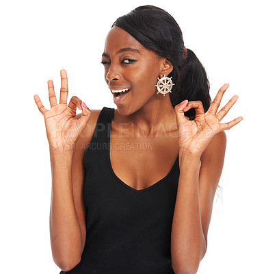 Buy stock photo Young woman showing positivity by giving the ok gesture - isolated on white