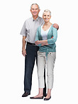 Portrait of happy loving senior couple standing on white