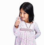 Girl showing a thumbs up against white background