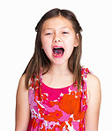 Frustrated young girl shouting against white background
