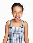 Little black girl shouting out loud against white background