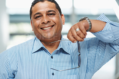 Buy stock photo Portrait of a confident happy mixed race business man smiling
