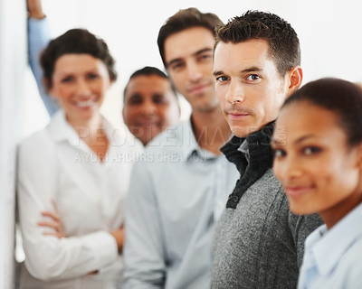 Buy stock photo Group of business people standing together in a line