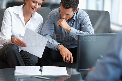 Buy stock photo Brainstorming - Portrait of successful businesspeople discussing a project at office