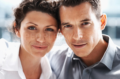 Buy stock photo Closeup portrait  of an attractive mature couple in love