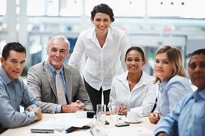 Buy stock photo Visionary business group - Portrait of colleagues during a meeting in boardroom