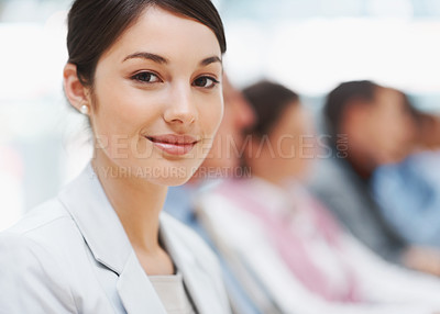 Buy stock photo Closeup portrait of a successful young business executive at a conference