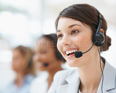 Buy stock photo Closeup of a female customer service representative