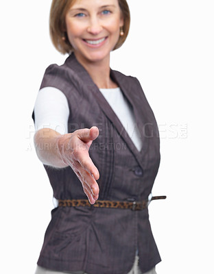 Buy stock photo Portrait of attractive mature woman with welcome gesture isolated over white background