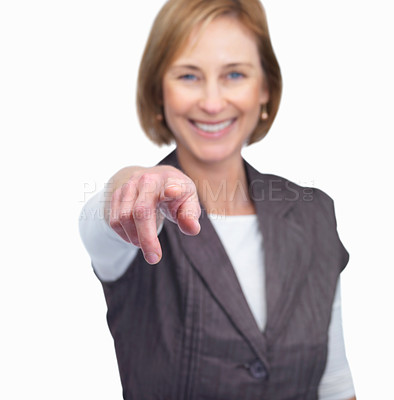 Buy stock photo Portrait of a happy mature female pointing at you isolated over white background