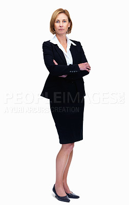 Buy stock photo Portrait of mature female lawyer wearing suit and standing isolated over white background