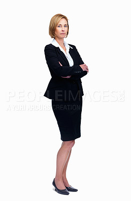 Buy stock photo Portrait of confident female entrepreneur standing isolated over white background
