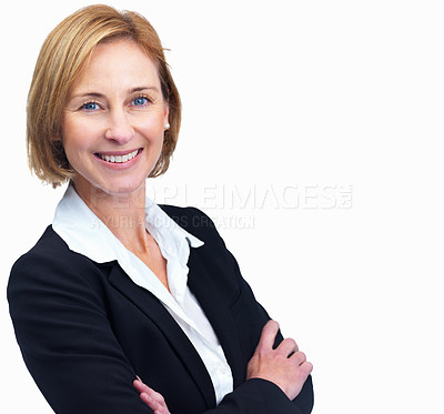 Buy stock photo Closeup portrait of attractive mature female lawyer standing with hands folded isolated over white background
