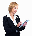 Confident mature female taking notes on notepad
